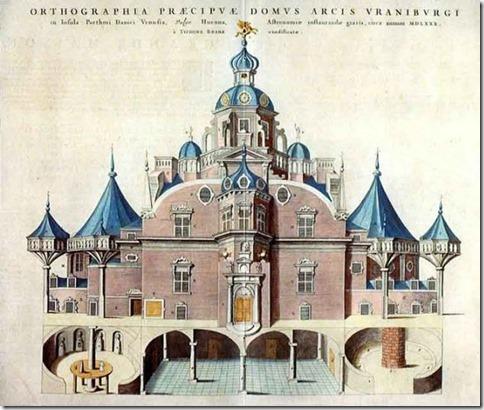 Alzado del singular 'Uraniborg', diseñado por Tycho Brahe