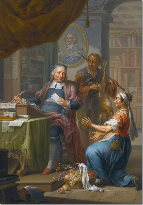An agent collecting taxes from a hunter and a farmer's wife - Franz Christoph Janneck (1703-1761)